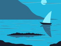 The sailboat sailed to the shore. Vector illustration of a sea shore and sea with a sailing boat on a background of a mountain landscape Royalty Free Stock Image