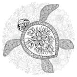 Vector illustration of sea turtle for Coloring book pages stock illustration