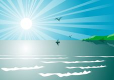 Vector illustration of sea view Royalty Free Stock Photos