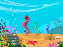 Vector illustration of the seabed. And its inhabitants Stock Photos