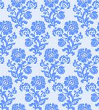 Vector illustration of seamless abstract blue flower pattern. Vector illustration of seamless abstract flower pattern. Blue flowers and leaves on light Stock Image