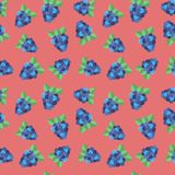 Seamless backgound. Pattern with forest berry BlackBerry on pink. Royalty Free Stock Photo