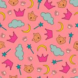 Night theme seamless background with cats and crowns. Vector illustration of seamless background with cats and crowns Royalty Free Stock Photography
