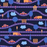 Seamless background. Children`s pattern with roads, cars, trees, traffic lights, houses and clouds. Violet, purple, orange, blue Stock Images