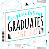 Vector illustration on seamless background congratulations of graduation 2016  Royalty Free Stock Image