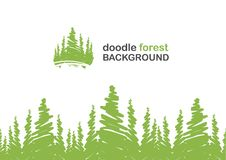Seamless background with doodle of pine forest. Vector illustration: Seamless background with doodle of pine forest Royalty Free Stock Photo