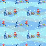Vector illustration seamless background happy children with sled and gifts walking outdoor. Stock Photo