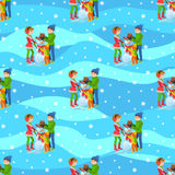 Vector illustration of seamless background happy family playing in winter make snowman walking outdoor. Stock Image