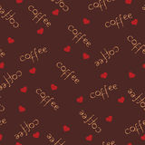 Vector illustration seamless background with lettering coffee and hearts. Stock Images