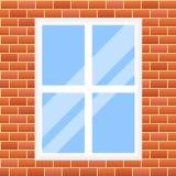 Illustration. seamless background. red brick wall with window. Vector illustration. seamless background. red brick wall with window Vector Illustration