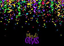 Vector illustration of seamless border background with confetti and serpentine Stock Image