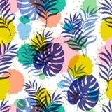 Vector botanical seamless modern pattern. Vector illustration, seamless botanical silhouette pattern on a ink blots modern background stock illustration