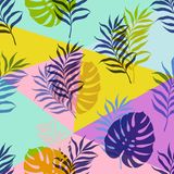 Vector botanical seamless modern pattern. Vector illustration, seamless botanical silhouette pattern on a modern colorful geometrical background vector illustration