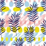Vector botanical seamless modern pattern. Vector illustration, seamless botanical silhouette pattern on a modern colorful paint background stock illustration