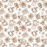 Vector illustration of a seamless coffee pattern Royalty Free Stock Photos