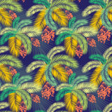 Vector illustration Seamless color palm leaves and fruit pattern Royalty Free Stock Image