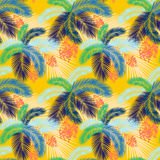 Vector illustration Seamless color palm leaves and fruit pattern Stock Image