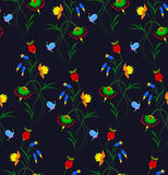 Vector illustration of seamless fantasy flower pattern. Colorful flowers on black background Stock Photos