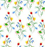 Vector illustration of seamless fantasy flower pattern on white background. Vector illustration of seamless fantasy flower pattern. Colorful flowers on white Stock Photography
