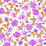 Vector illustration of seamless flower pattern. Abstract pink flowers and orange leaves on white background Stock Photos