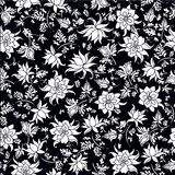 Vector illustration of seamless flowers pattern in black and white colors royalty free illustration
