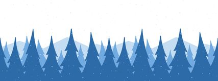 Vector illustration: Seamless mountains background. Template of Christmas greeting banner with winter snowy pine forest royalty free illustration