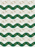 Vector illustration. Seamless ornament. green wavy lines and golden leaves Royalty Free Stock Photography