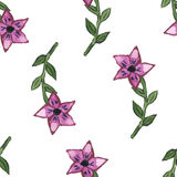 Vector illustration, seamless pattern with abstract purple watercolor flowers Royalty Free Stock Photography