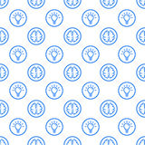 Vector illustration of seamless pattern with blue icons in flat line style. Royalty Free Stock Photos