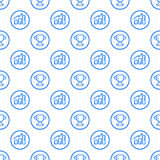 Vector illustration of seamless pattern with blue icons in flat line style. Stock Photo