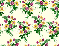 Vector illustration of seamless pattern of bouquet made from wildflowers. Royalty Free Stock Image