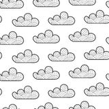 Seamless pattern with cartoon cloud stock illustration