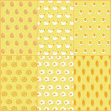 Vector Illustration Seamless Pattern of Chicken and Egg Dishes Royalty Free Stock Image
