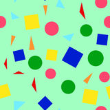 Vector illustration of a seamless pattern of colorful simple shapes - squares, triangles, circles on a light green. Background Vector Illustration