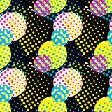 Vector illustration of seamless pattern concept print with circles and color CMYK Royalty Free Stock Photography