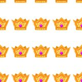 Vector illustration. Seamless pattern of crowns. Gold Crowns with gems vector illustration