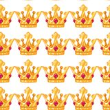 Vector illustration. Seamless pattern of crowns. Gold Crowns with gems. Art Design Cartoon vector illustration