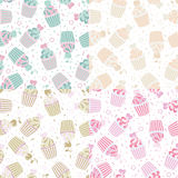 Vector seamless pattern of cute cupcakes. Vector illustration seamless pattern of cute cupcakes theme Stock Photo