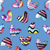 Vector illustration. Seamless pattern with cute hearts painted in rainbow colors on the blue background vector illustration