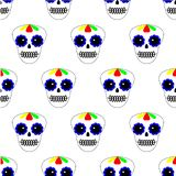 Vector illustration. Seamless pattern. Day of the dead. Dia de los muertos icons on white background. Set of colourful sculls. royalty free illustration
