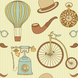 Seamless pattern with different retro objects Stock Image