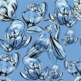 Illustration of seamless pattern First Snowdrops Galanthus Flowers. with watrcolor effects. Spring background, wallpaper. Vector illustration of seamless pattern Royalty Free Stock Photography