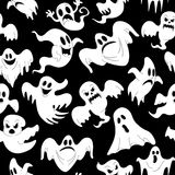 Vector illustration of seamless pattern with Halloween. Night of spooky ghosts for horror holiday party celebration. 31 October trick or treat design template Royalty Free Stock Image