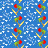 Vector illustration seamless pattern for Hawaii traveling. Tropical island with palm tree. Vector illustration seamless pattern. Tropical island with palm tree Royalty Free Stock Photos