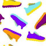 Vector illustration seamless pattern with icons of sports running shoes sneakers. royalty free illustration