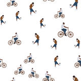 Vector illustration of a seamless pattern with the images of people active summer vacationers, flat style Stock Photos