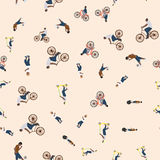 Vector illustration of a seamless pattern with the images of people active summer vacationers, flat style Royalty Free Stock Photo