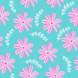Vector illustration seamless pattern with pink flowers plants stock photos