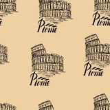 Vector illustration, seamless pattern with Rome label Royalty Free Stock Photo