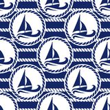 Vector illustration seamless pattern for sea traveling. Stock Photos